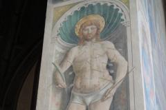 A fresco of St. Sebastian.