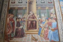 The fresco of Augustine teaching in Rome.
