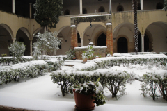 A beautiful snow in the cloister.