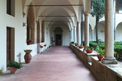 The view of the cloister walkway from the convento entrance.
