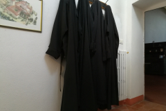 Augustinian habits hanging outside the chapel.