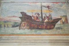 Trip to Rome. This fresco was totally ruined and repainted in the Eighteenth century.  You can see two men on the mast, the upper man was the original.