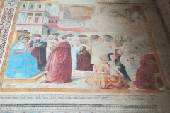 Augustine in dialogue with Ambrose.  It also shows Monica (center) beseeching the bishop to help Augustine
